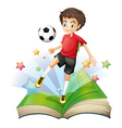 A book with a boy playing football vector image vector image