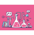 colorful chemical laboratory flasks on re vector image