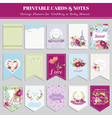 Vintage Flowers Card Set - for birthday wedding vector image vector image