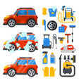 car washing service clean tools transport vector image