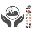 embryo care hands icon with valentine bonus vector image