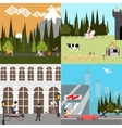 Flat Design Time line People Life Ancient Medieval vector image