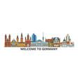 germany outline skyline german flat thin line vector image