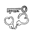 handcuffs in the form of heart and the key vector image