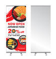 japanese food roll up banner stand design vector image