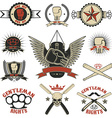 Set of mma boxing street fight emblems and design vector image