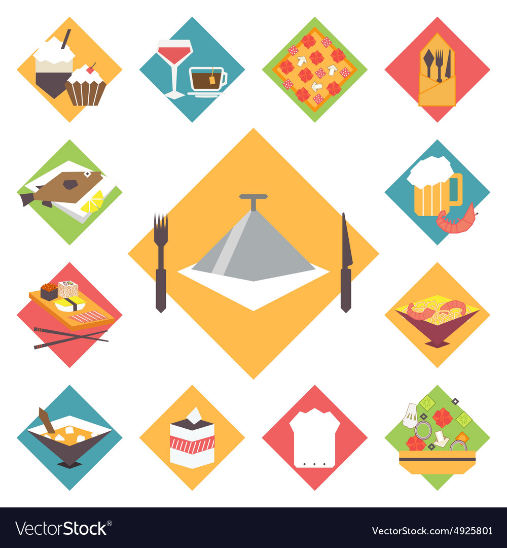 Icons flat set for cooking restaurant vector