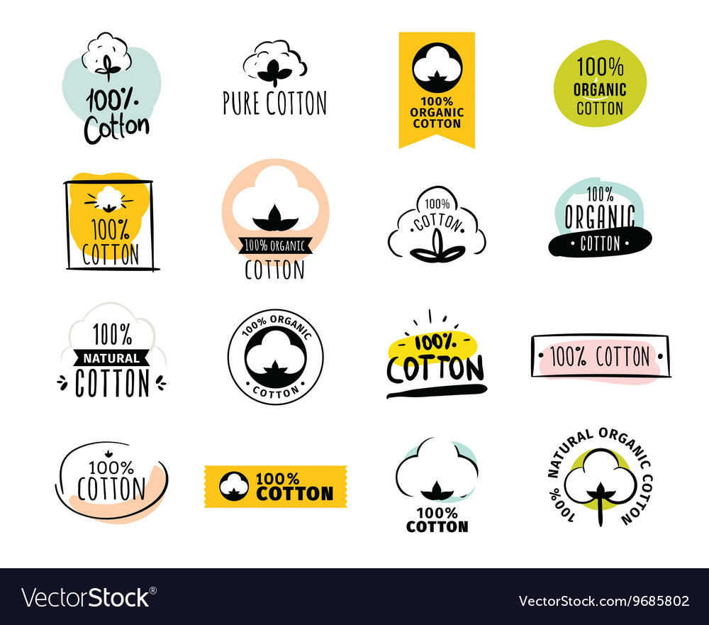 Natural organic cotton labels vector