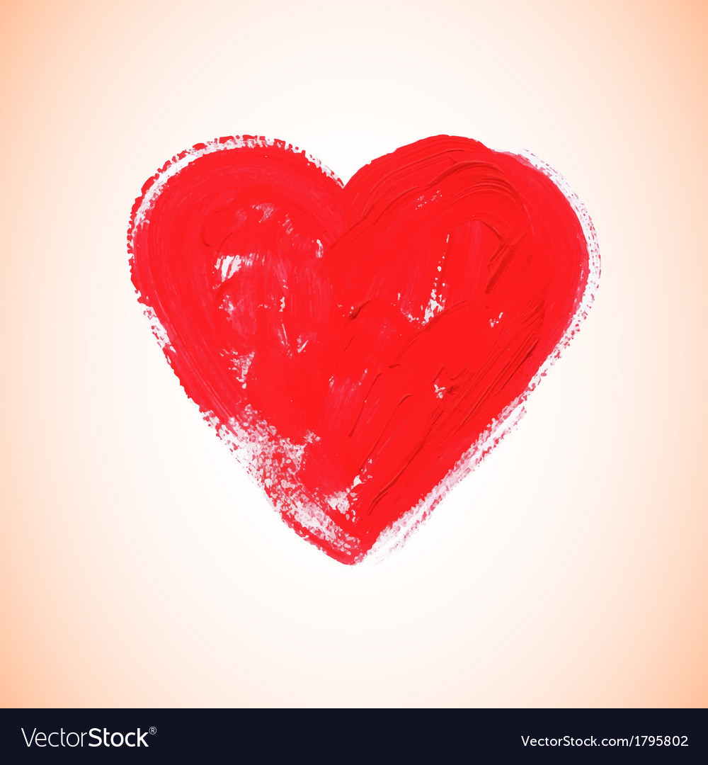 Watercolor red heart vector