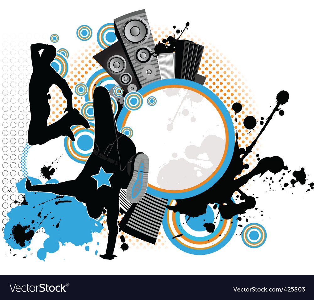 Dancing youth men music city vector