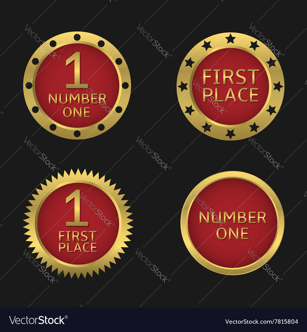 Golden badge set vector