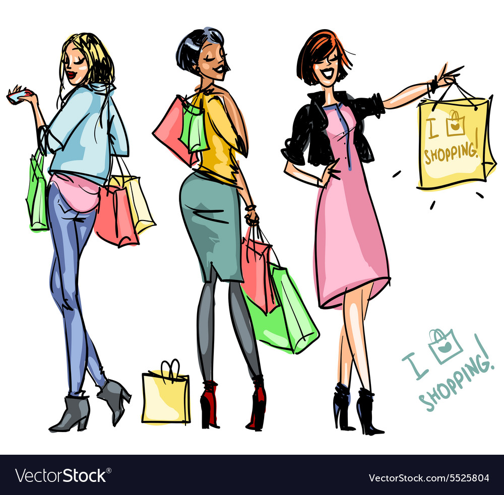 Pretty girls with shopping bags vector