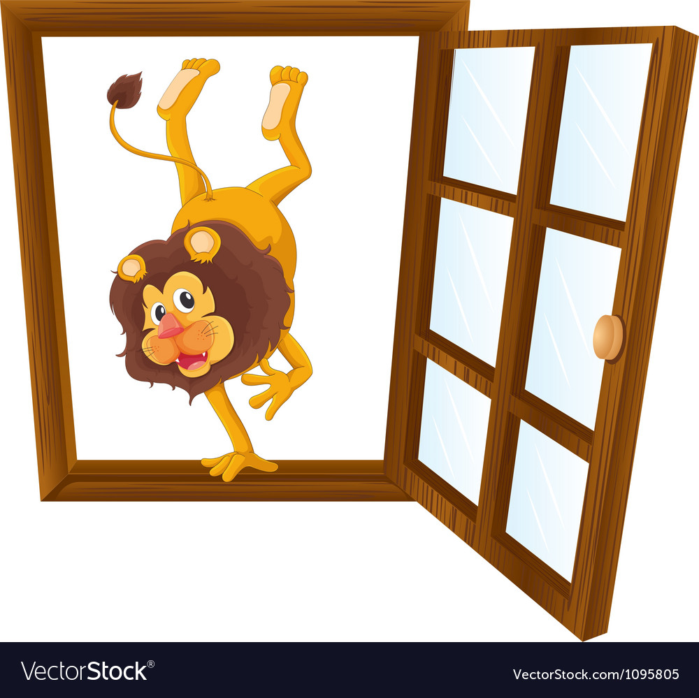 A lion in the window vector