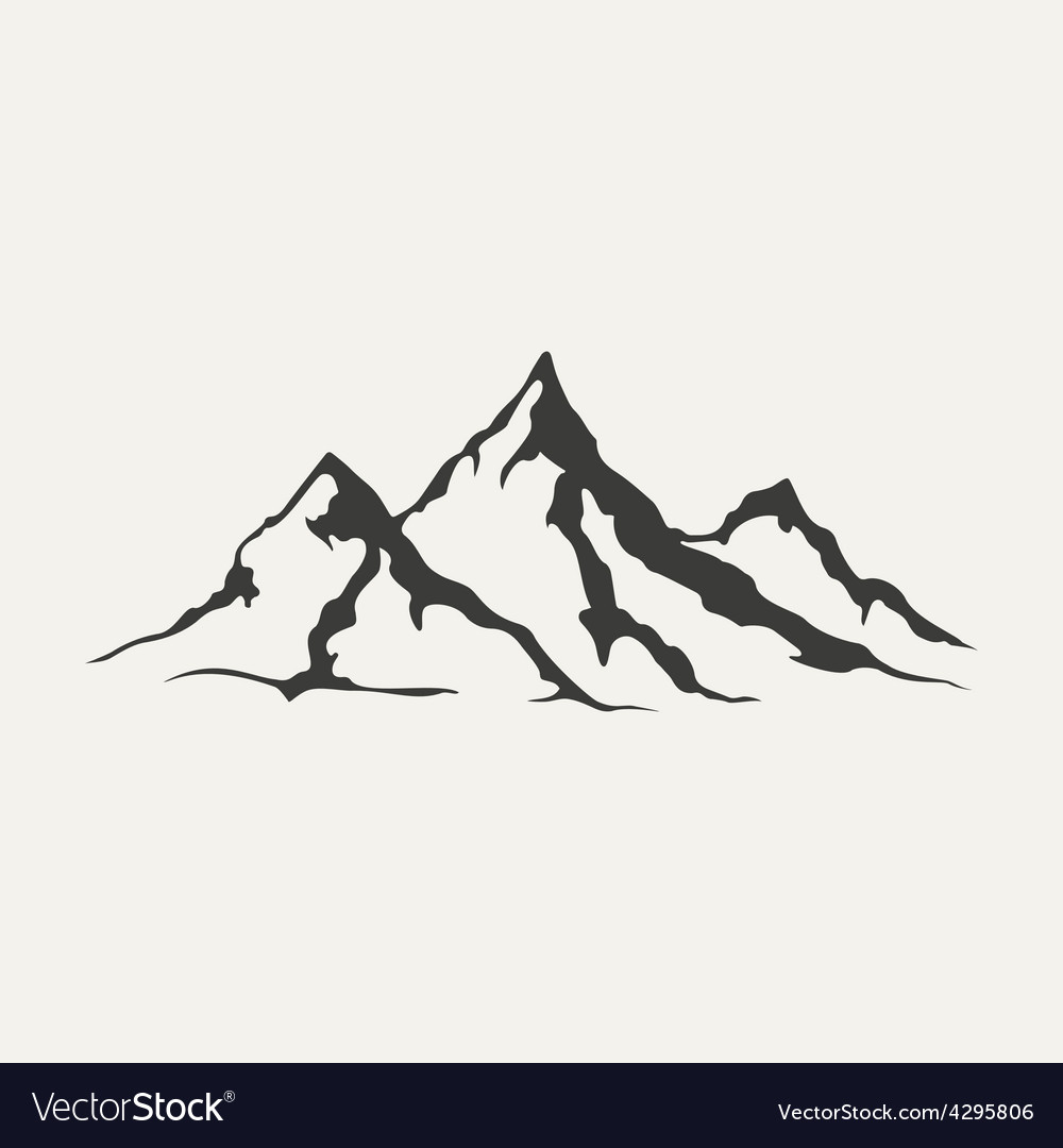 Mountains black and white style vector