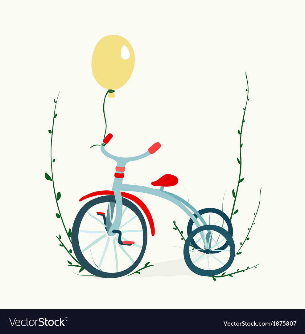 Childrens tricycle drawing vector