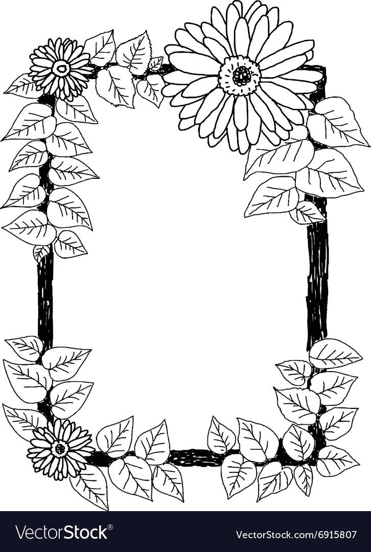 Daisies and leaves frame vector