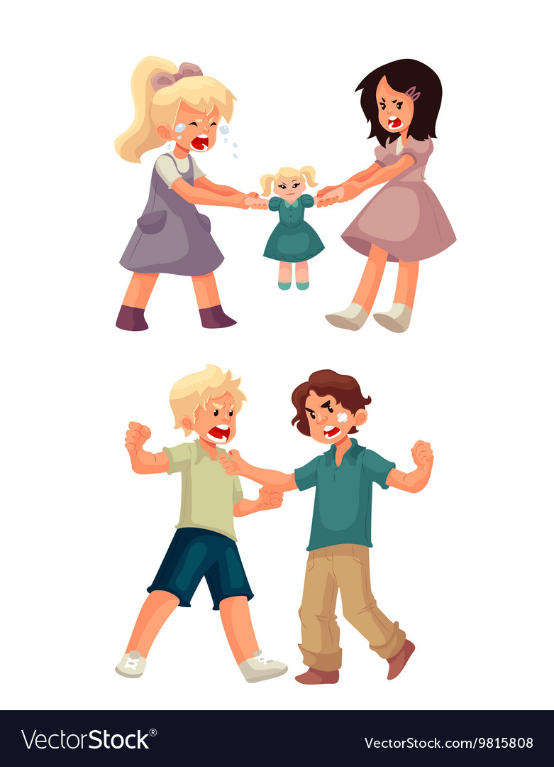 Girls fighting over a doll and boys punching each vector