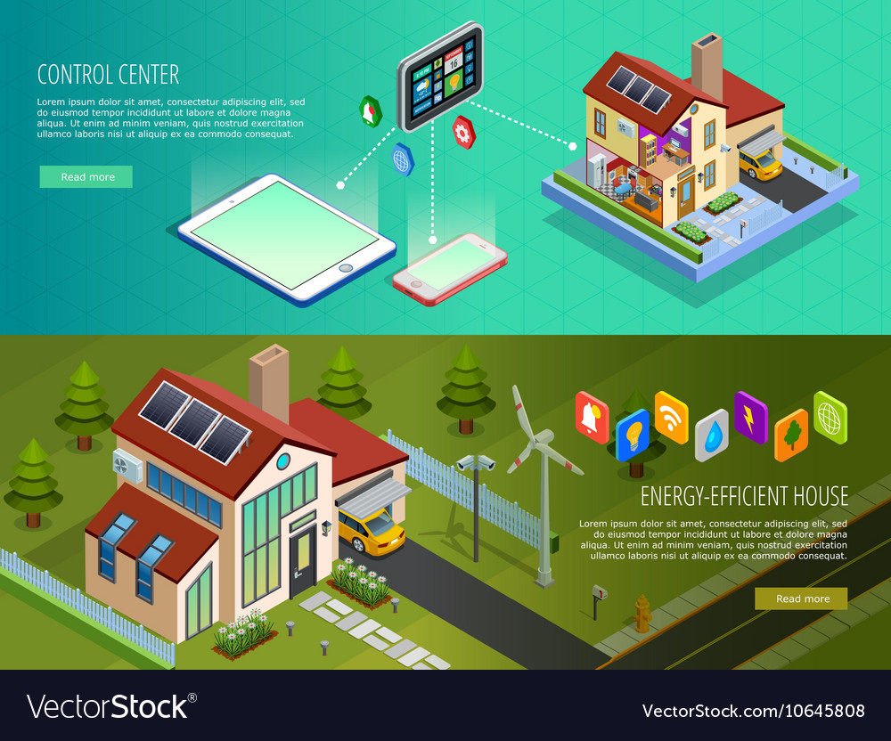 Smart home control 2 isometric banners vector