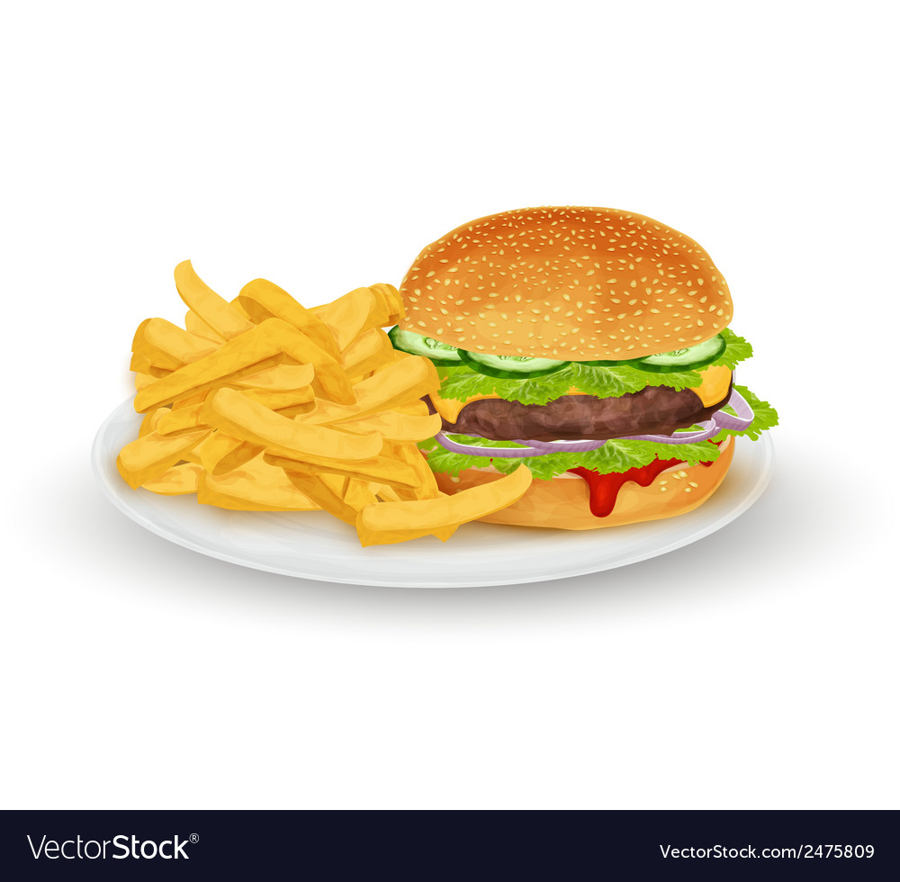 Hamburger on plate vector