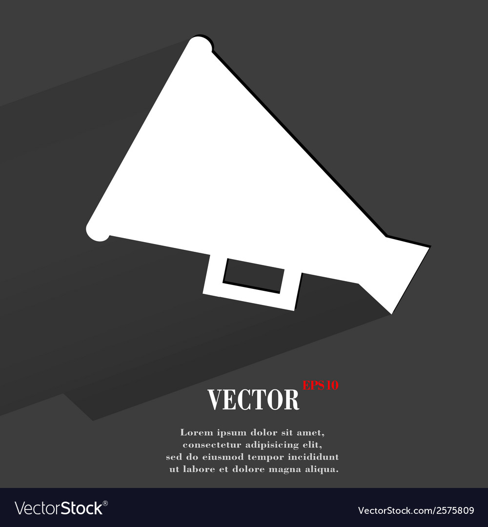 Megaphone loudhailer flat modern web button with vector