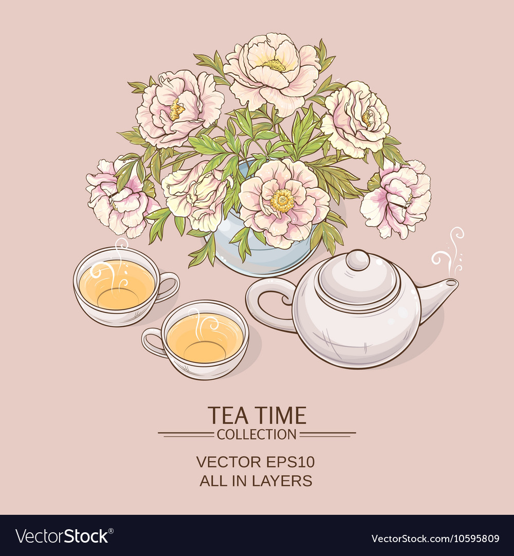 Tea pot with tea cup and sugar bowl vector