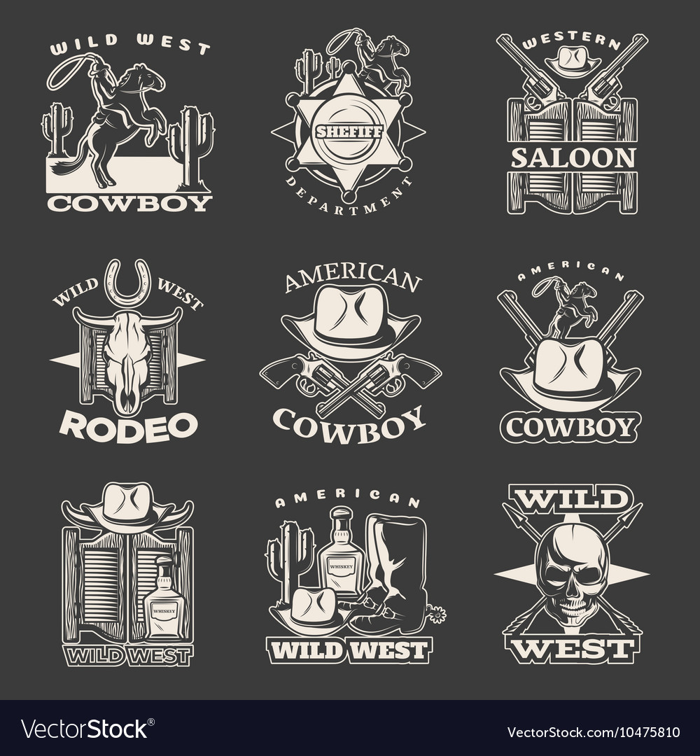Wild west emblem set on dark vector