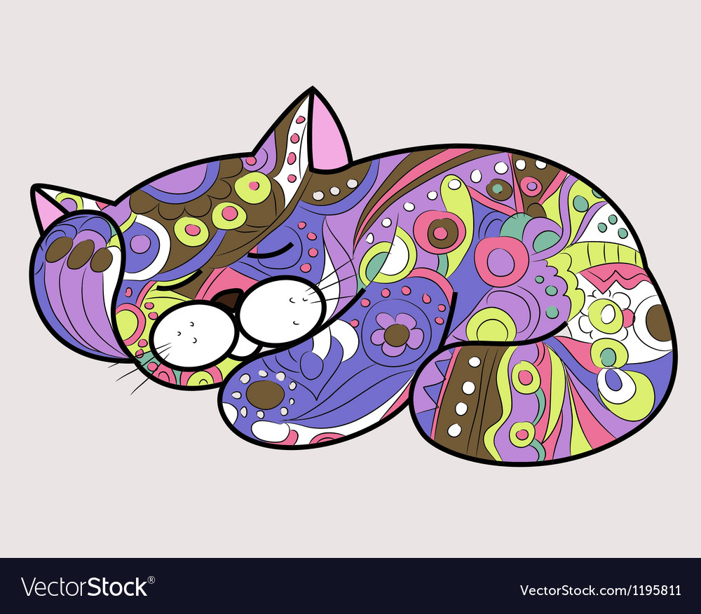 Cat in ethnic style 2 vector
