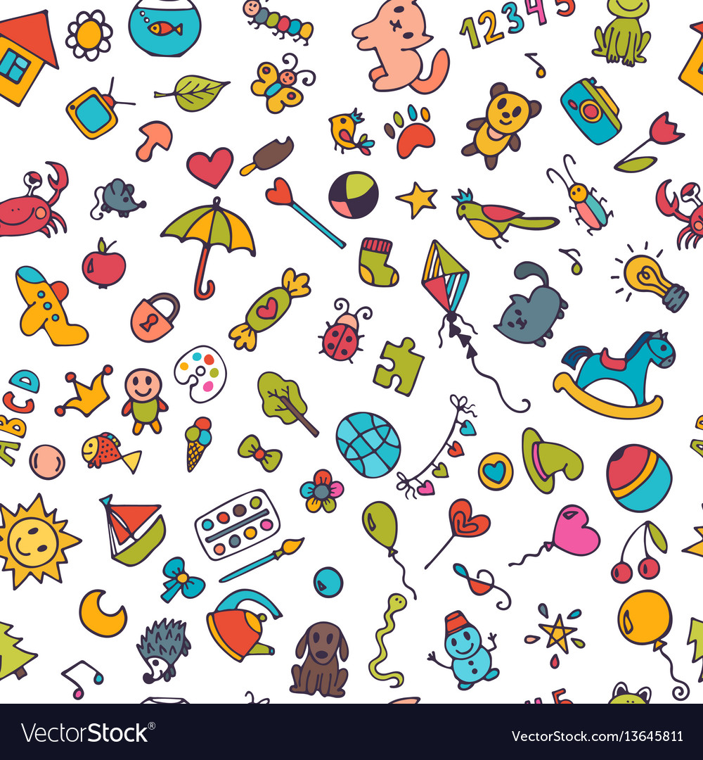 Doodle children background seamless pattern for vector