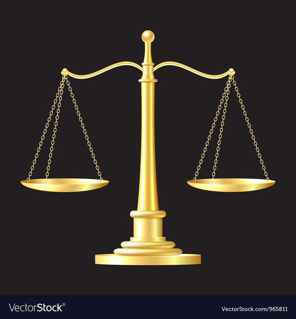 Gold scales icon vector