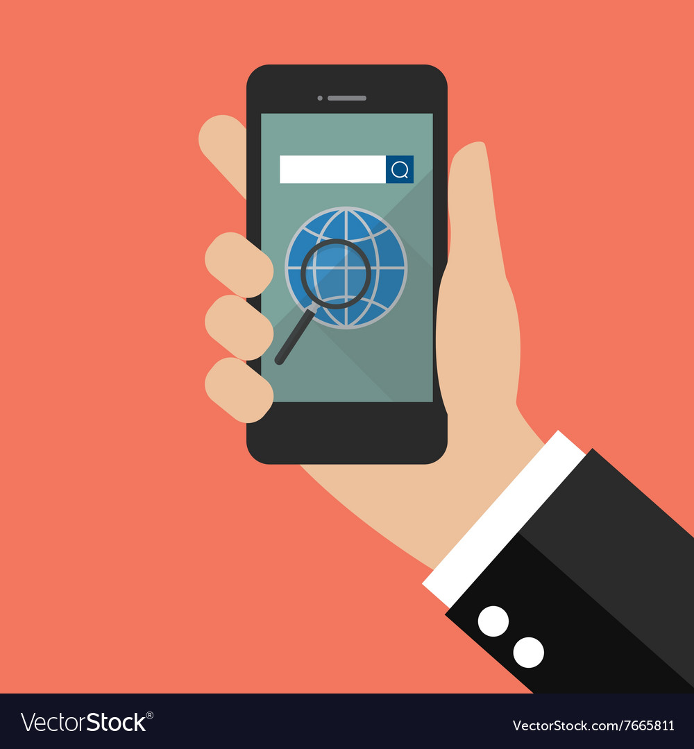 Hand holding smart phone with search engine icon vector