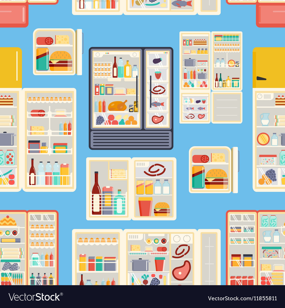 Open refrigerator products pattern vector