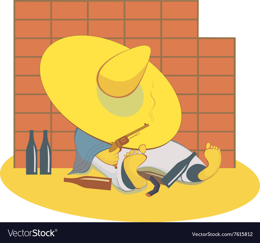 Drunken man with a gun lies near the wall vector