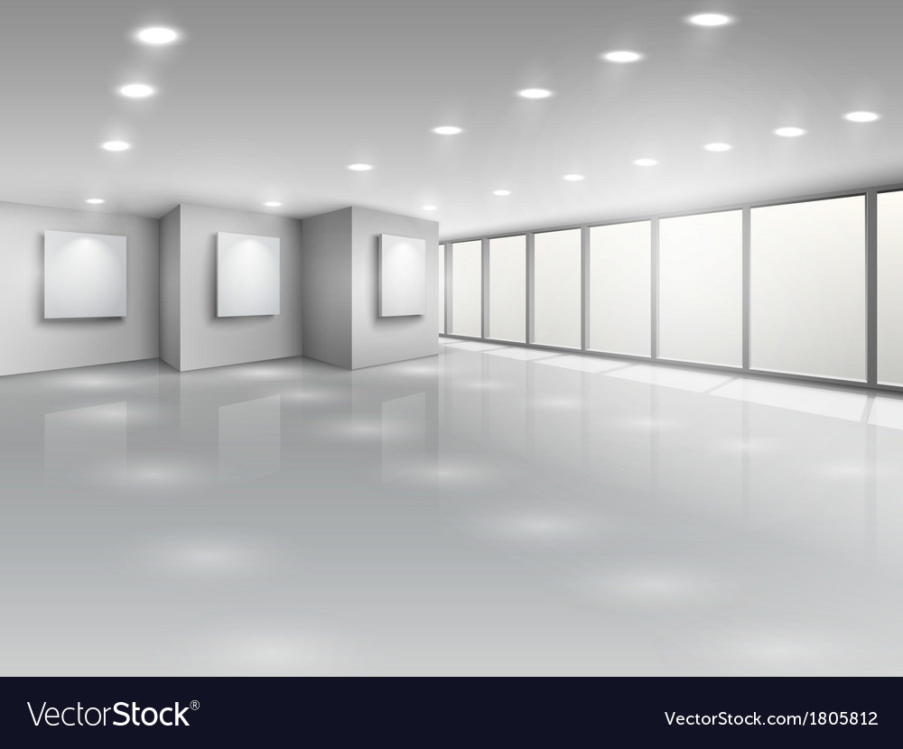 Empty gallery interior with light windows vector