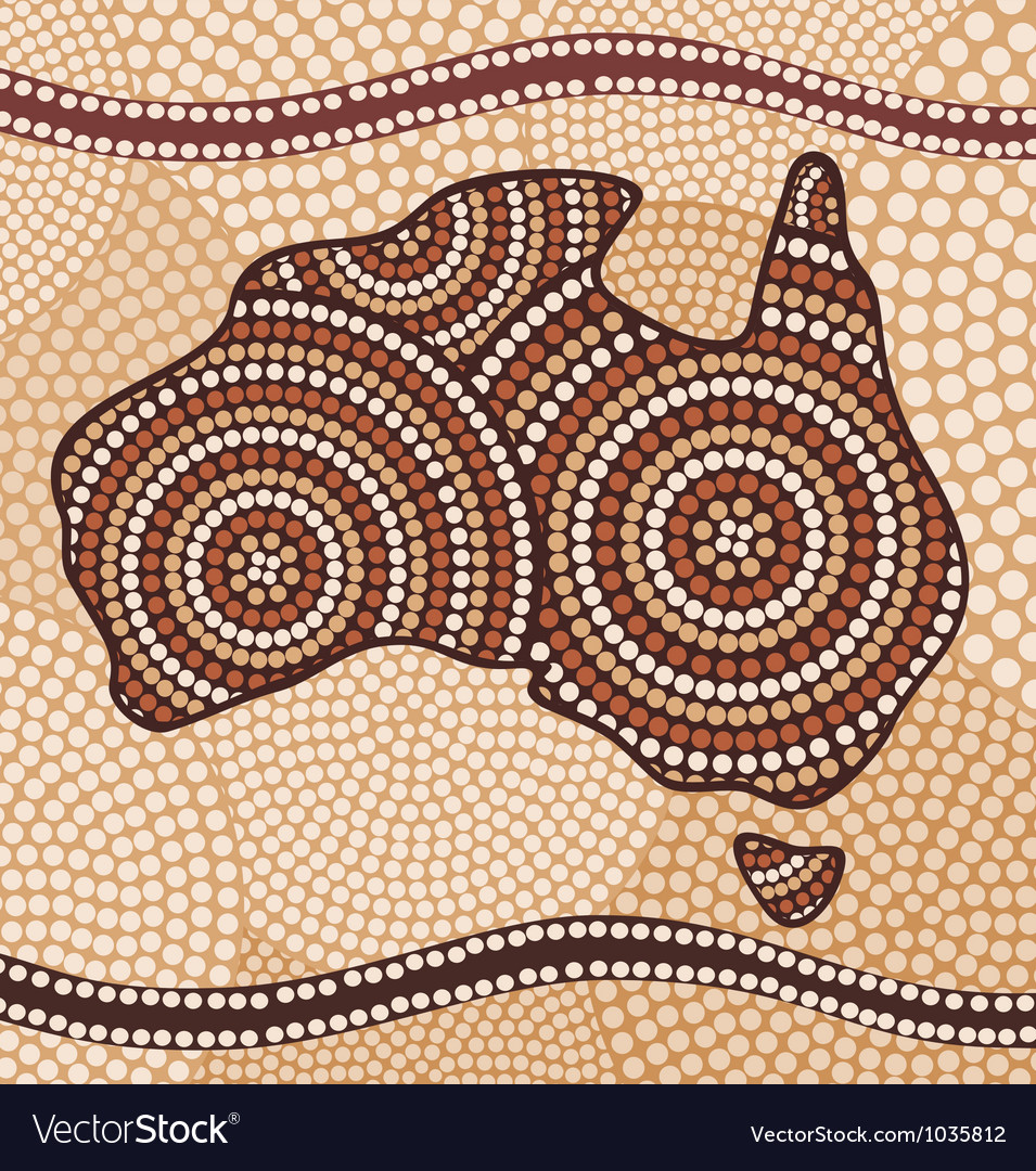 Map of australia painting in the aboriginal style vector