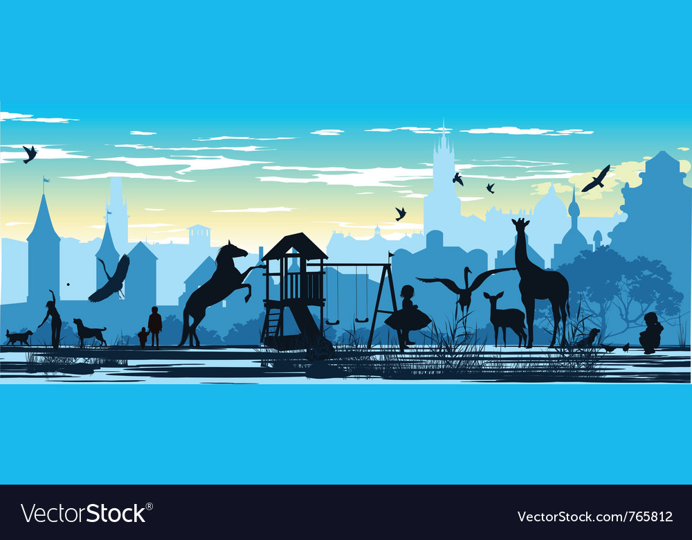 Playground with children and various animals vector