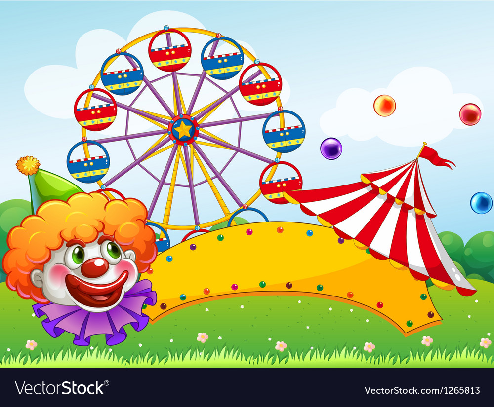 An empty board in front of the ferris wheel vector