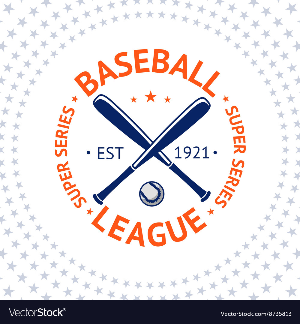 Old style baseball label with ball and bats vector