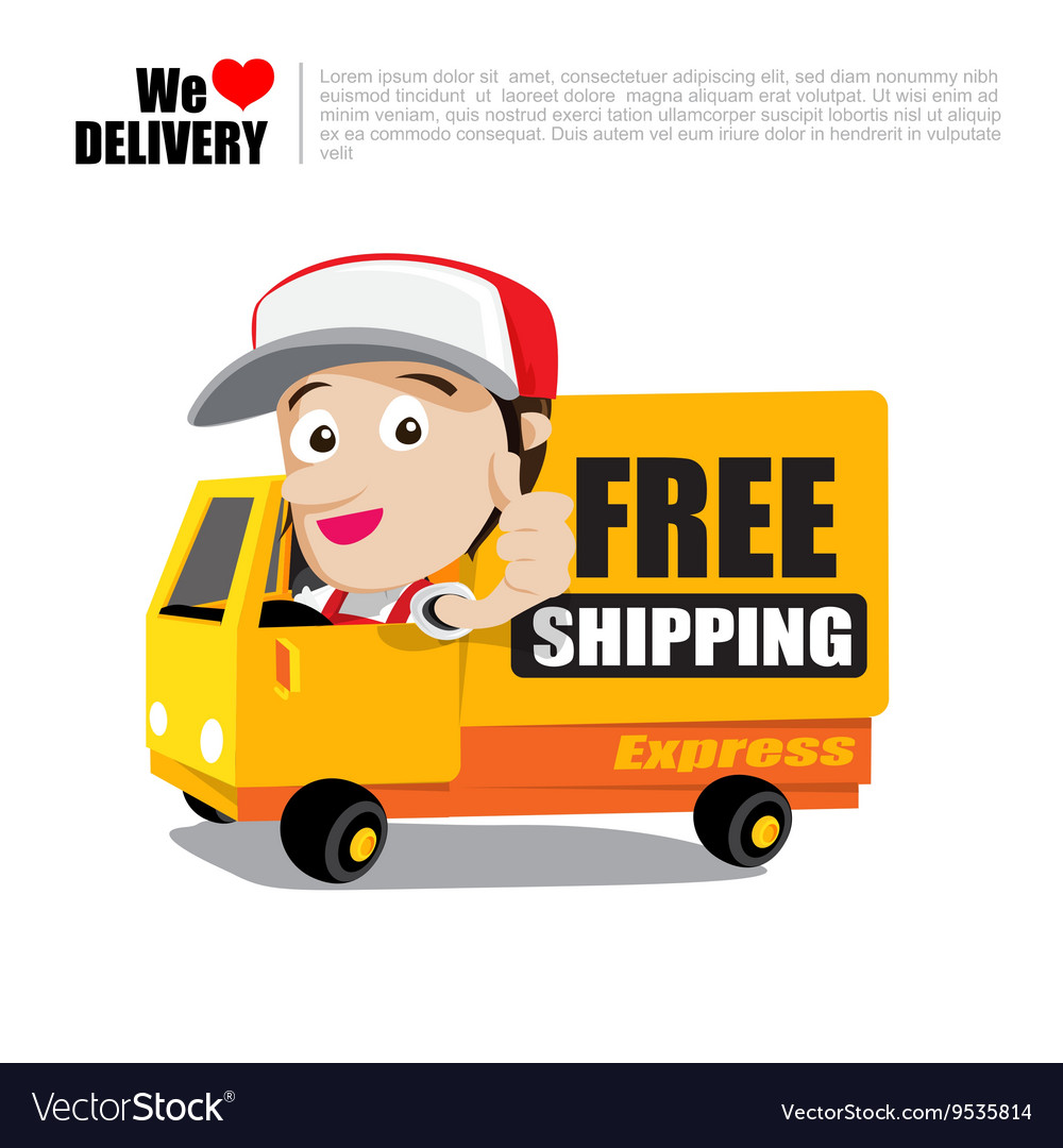 Smile delivery man thumb up on truck with text vector