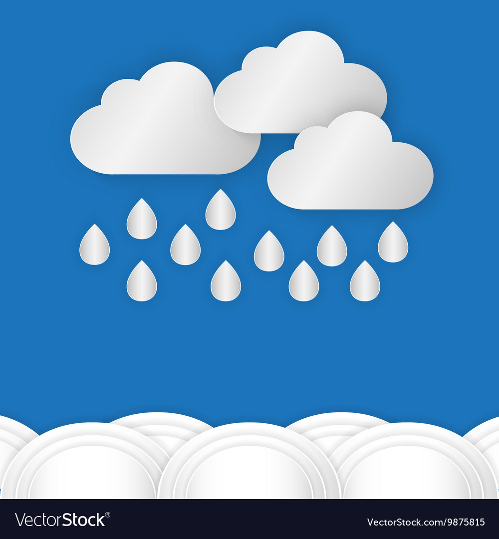 A cloud with rain drop over water or sea against vector