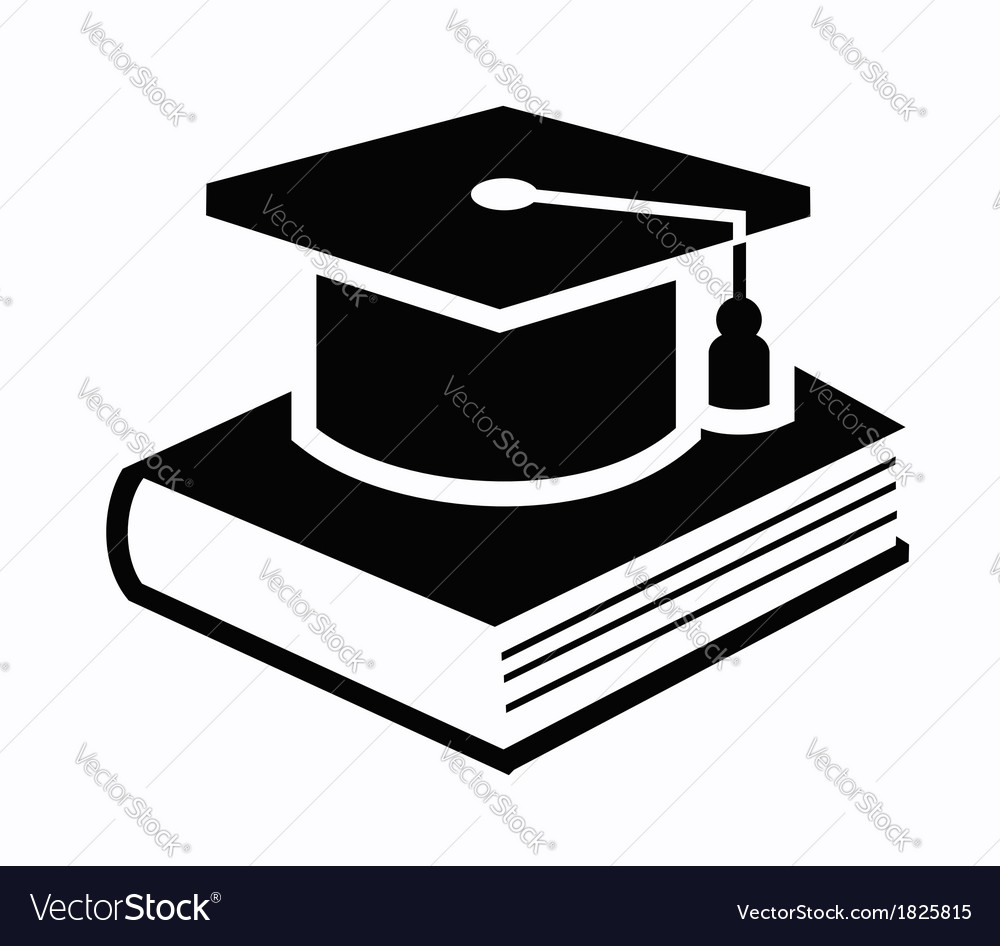 Graduation cap and book icon vector