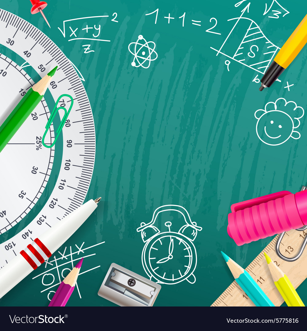 Creative chalk background with school supplies vector