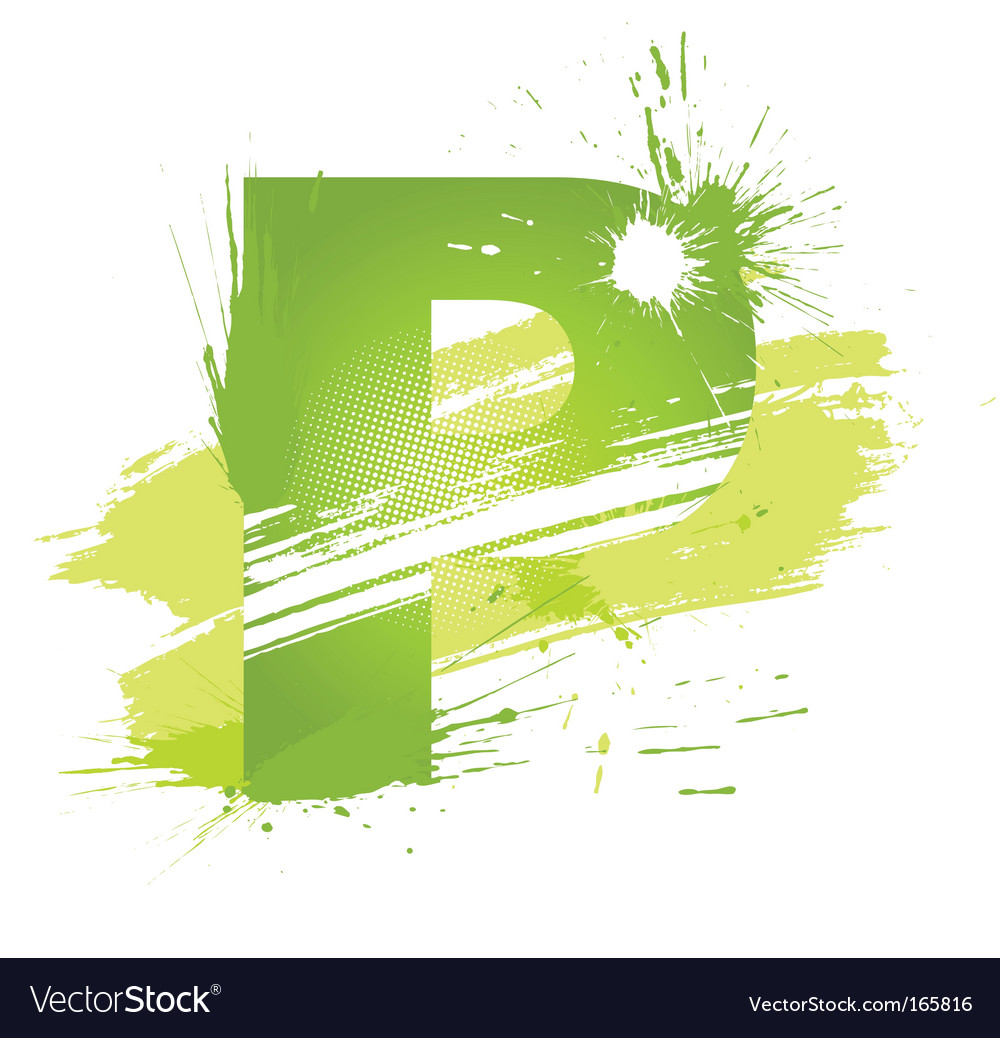 Paint splashes font letter p vector