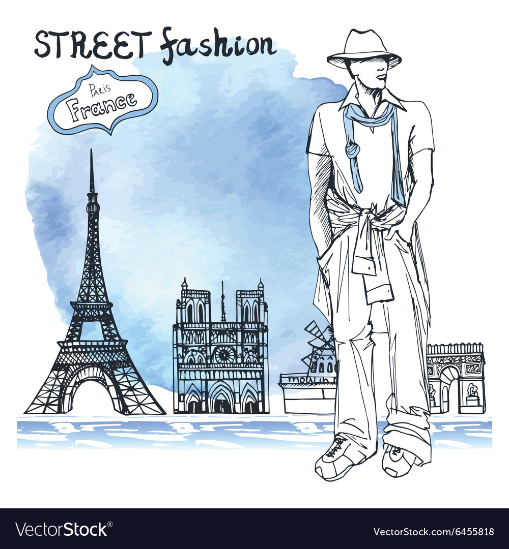 Trendy dude on watercolor backgroundparis street vector