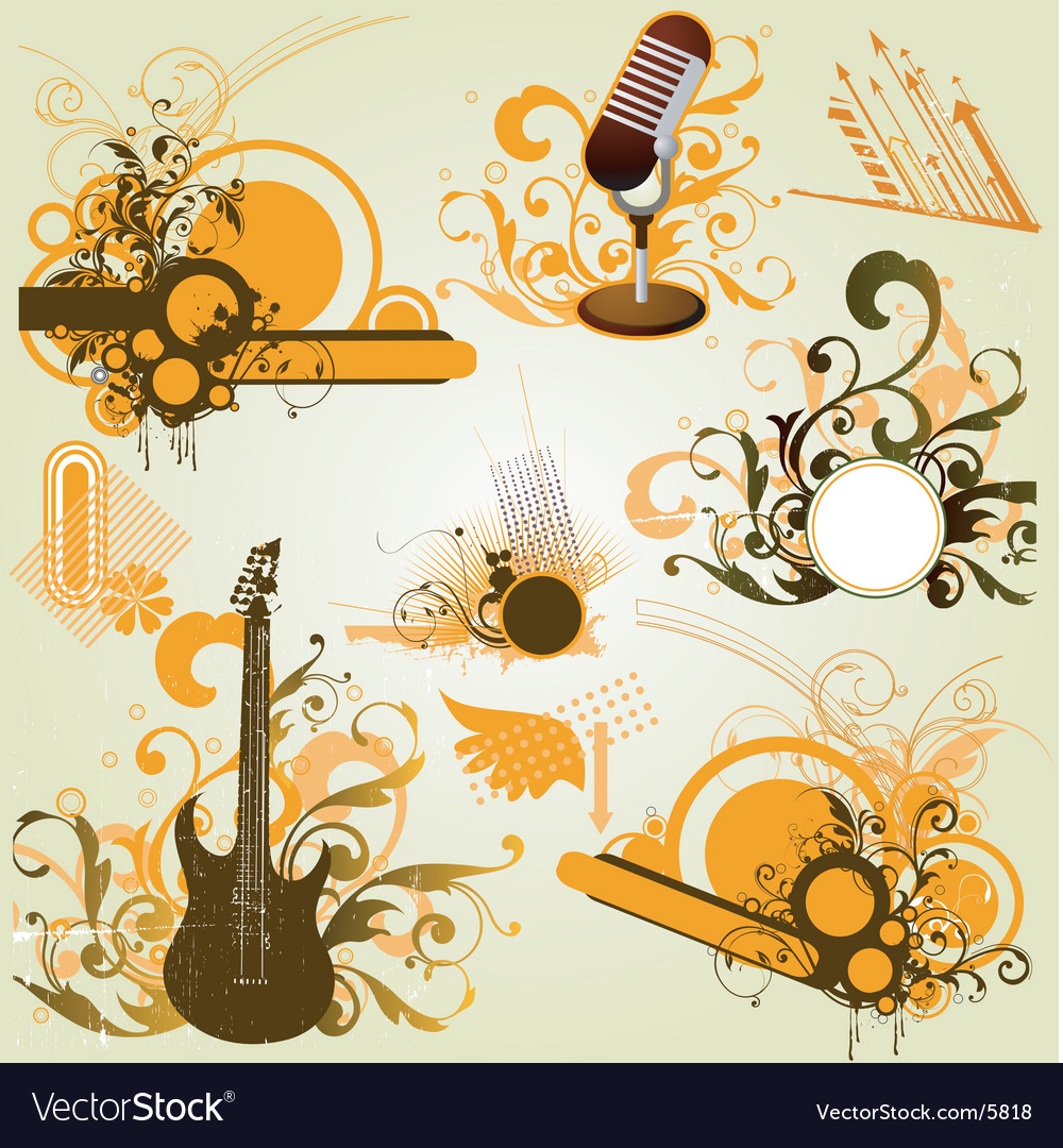 Vintage retro music elements vector