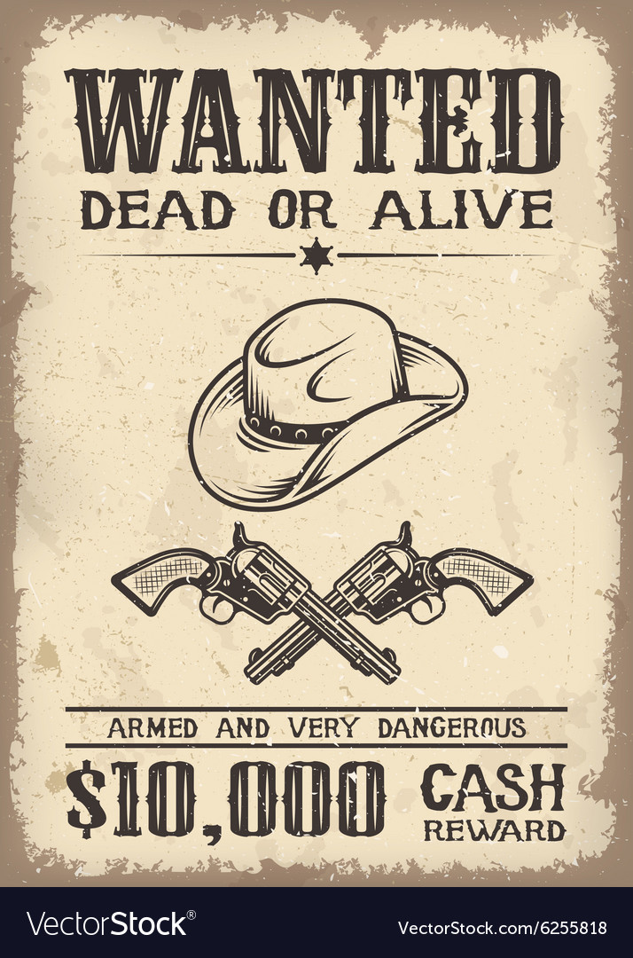 Vitage wild west wanted poster vector