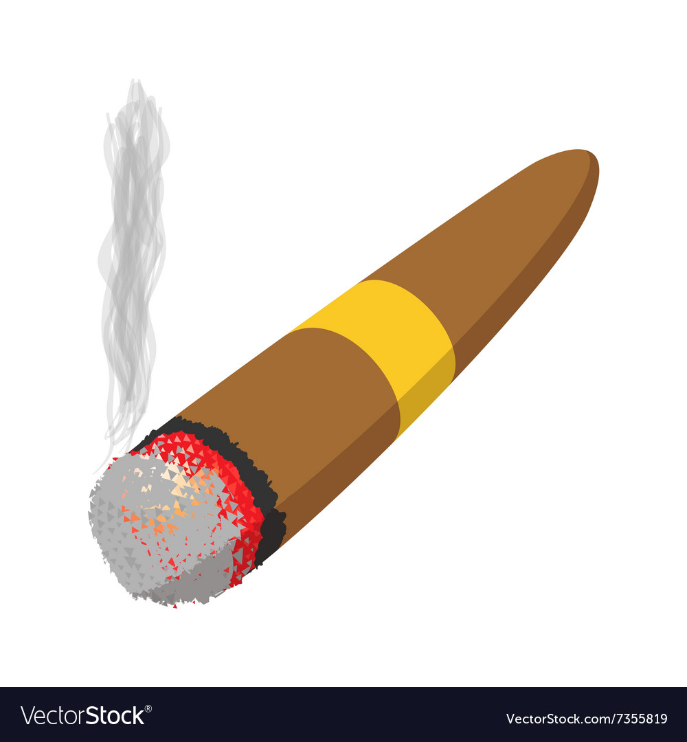 Brown cigar burned cartoon icon vector