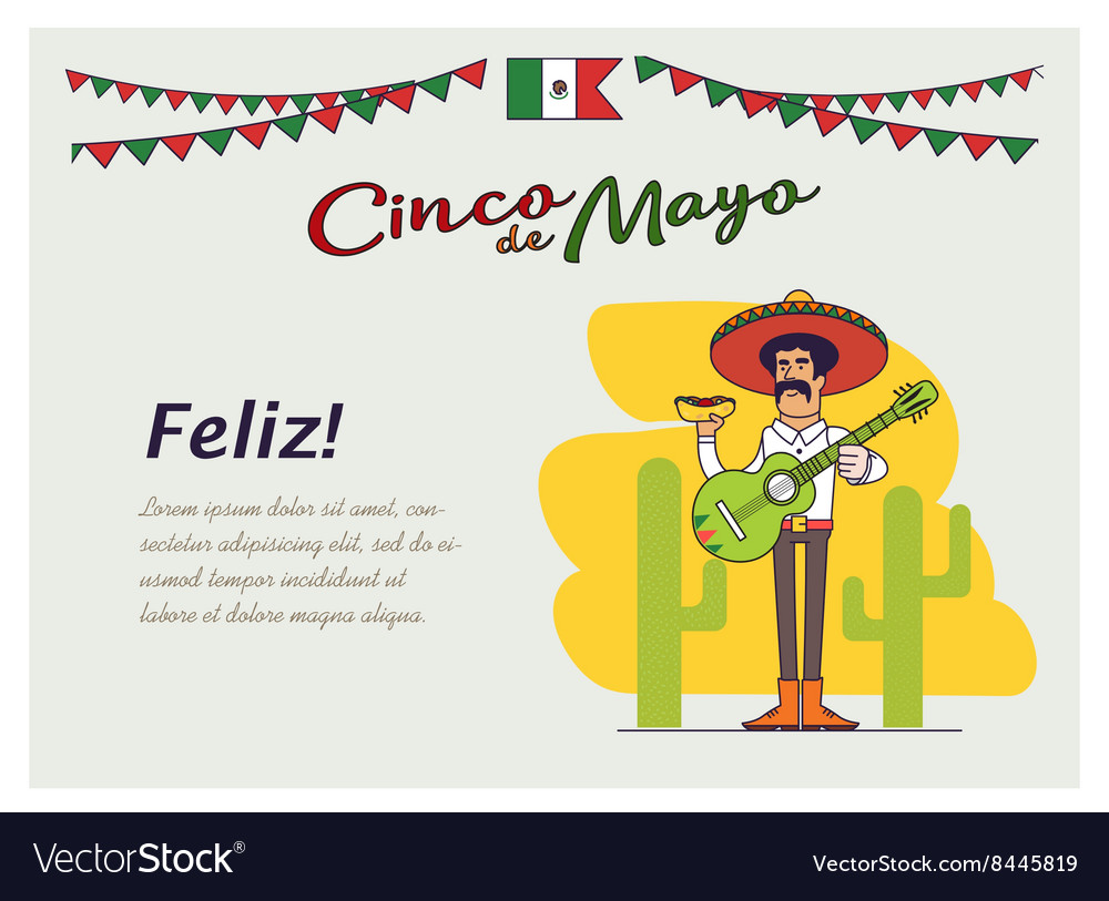 Feliz cinco de mayo mexican is holding the vector