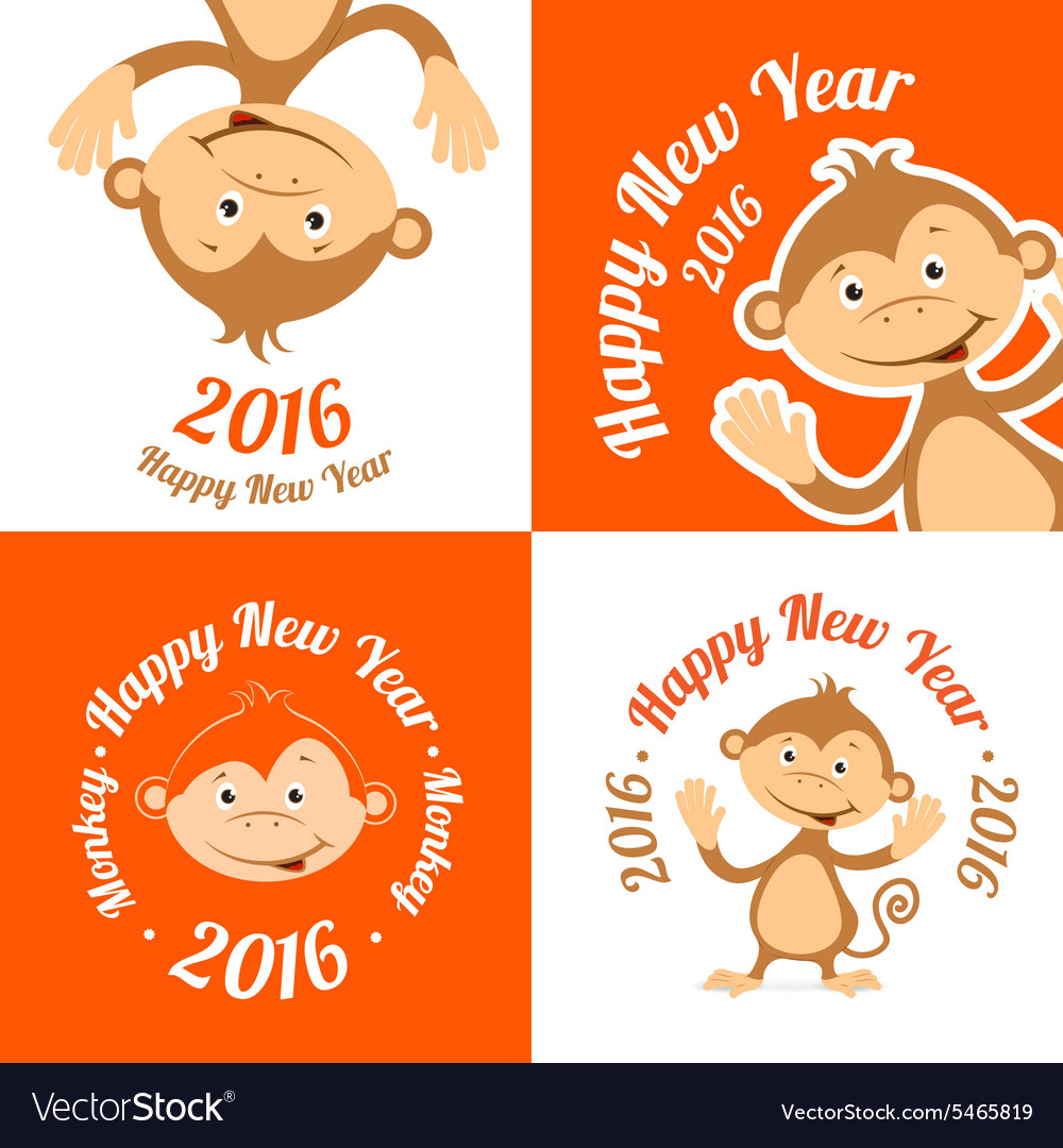 Set of funny cartoon monkey is flat the symbol of vector