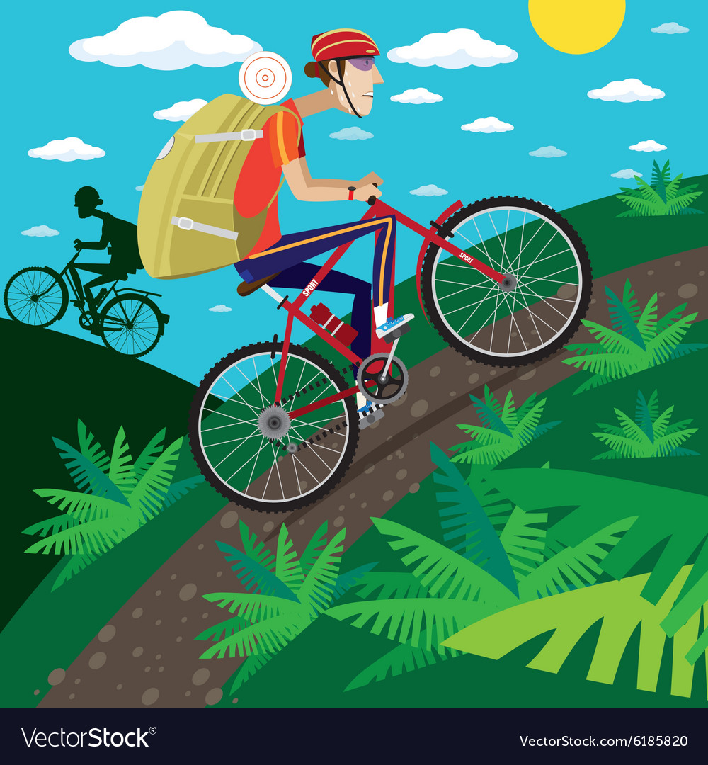 Cycler in the mountains vector