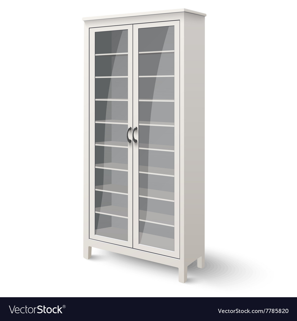 Empty bookcase with glass doors isolated vector